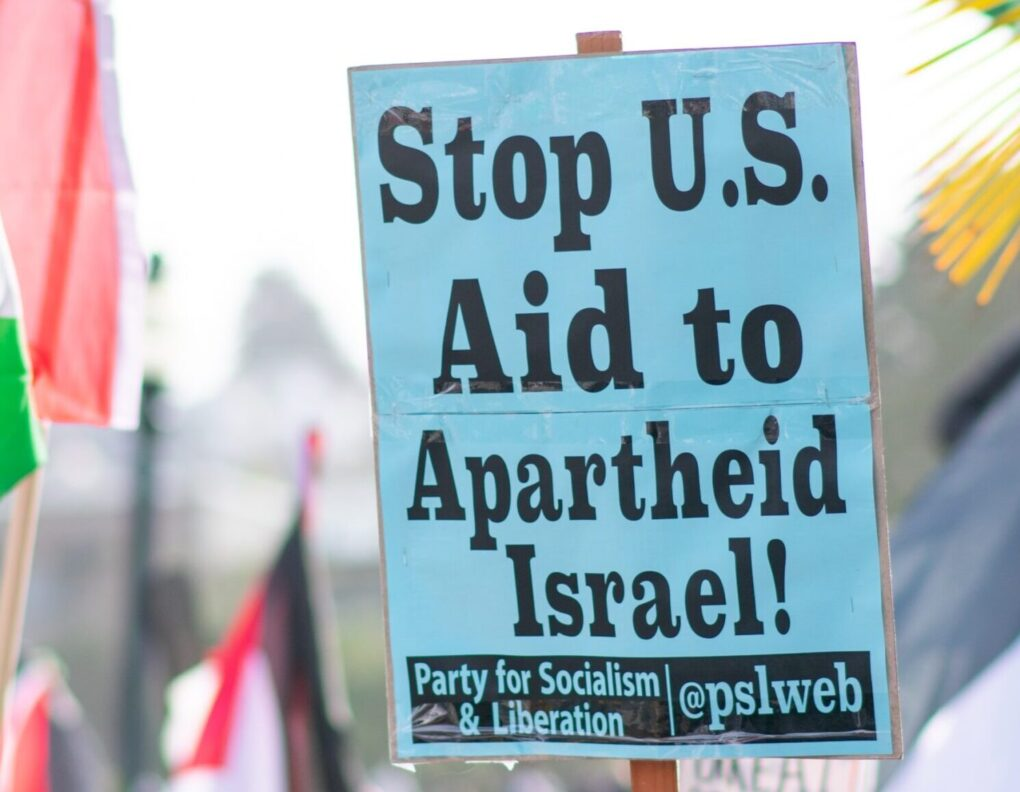 Banner stop US aid to Israel